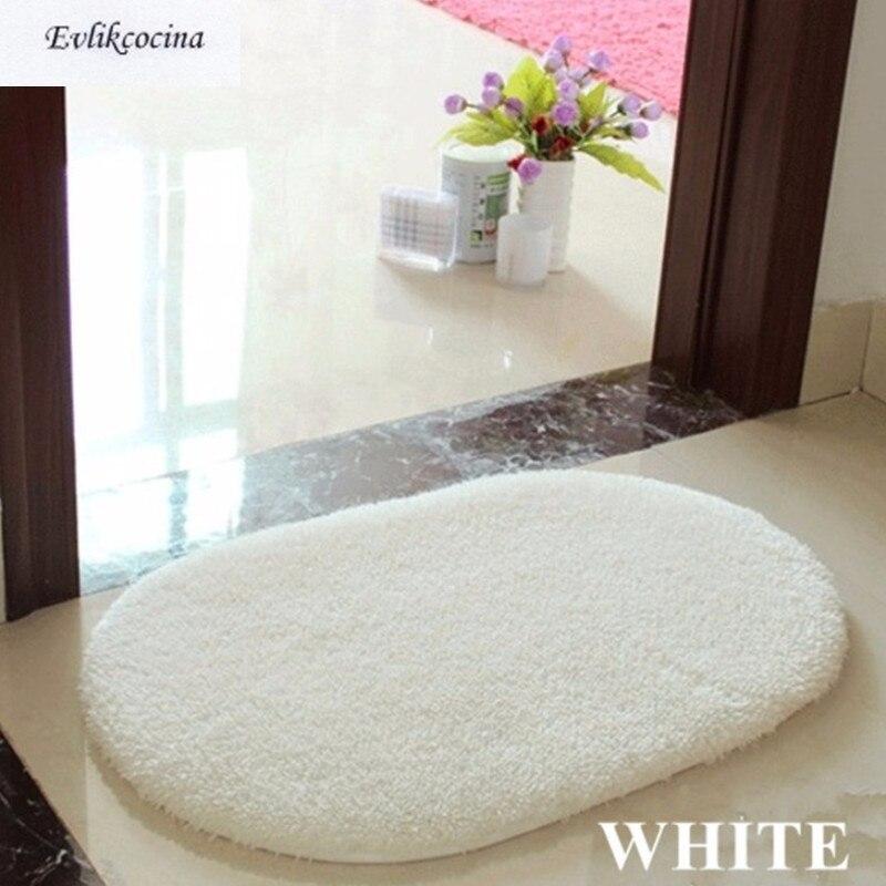 Free Shipping White Soft Plush Absorbent Sponge Bedroom Bathroom Shower Floor Door Mat Rug Parlor Hallway Non-slip Oval Carpet