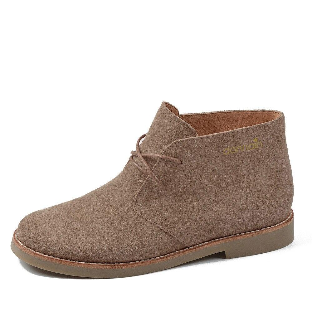 Botas de tobillo Donna in para mujer Martin botas zapatos de cuero genuino zapatos planos informales mujer 2019 otoño con cordones las señoras más
