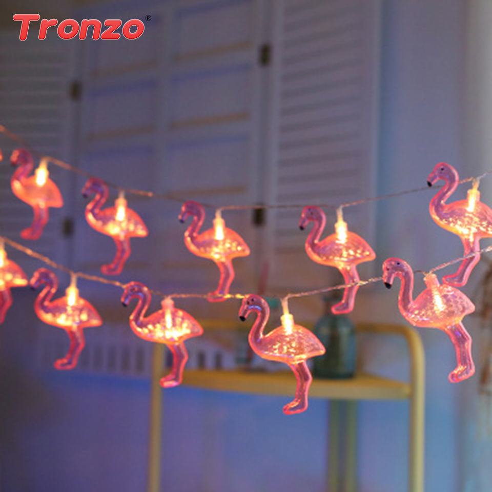 Tronzo LED Flamingo String Light Flamingo Decoration 10 Lights Pineapple Unicorn Party Baby Shower Wedding Bedroom Decor Lights