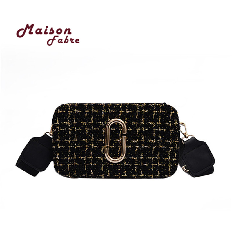 U5#Maison Fabre Handbags Women Woolen Plaid Small Square Bag Wide Shoulder Bag Strap Wild Messenger Bag Crossbody Bag messenger bag
