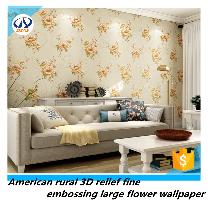 American rural 3D relief fine embossing large flower non-woven wallpaperAmerican rural 3D relief fine embossing large flower non-woven wallpaper