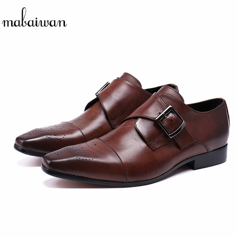 Mabaiwan Fashion Genuine Leather Handmade Dress Men Shoes Italy Retro Style Business Wedding Shoes Men Flats Brown Shoes For Men