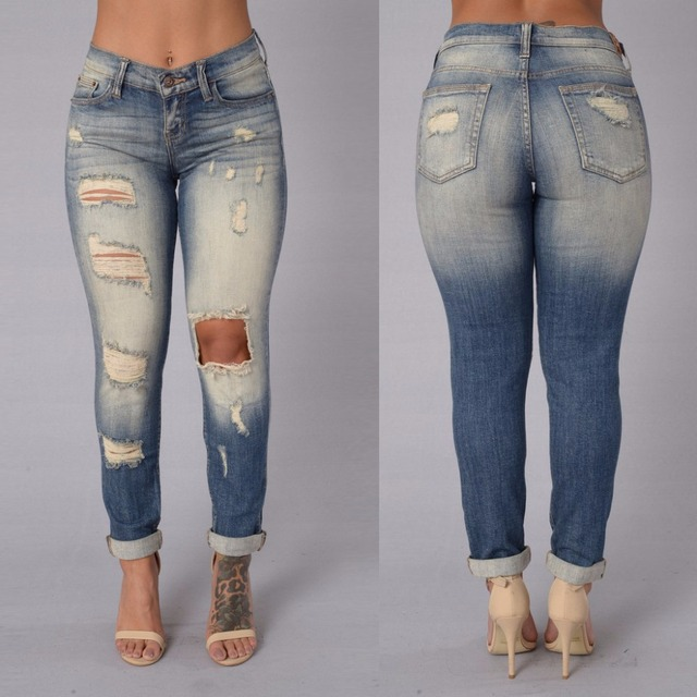 71addc95fa7890 Destroy Wash Women Fashion Denim Trousers Blue Knee Ripped Skinny Cropped Pants  Mid Waist Button Fly