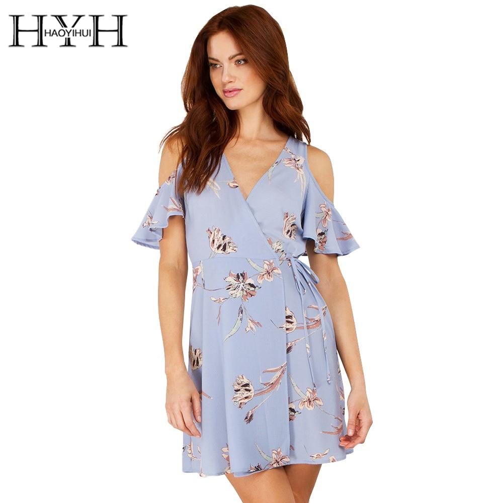 Hyh haoyihui flor impreso hombro blue dress sexy v cuello de la manga de la mari