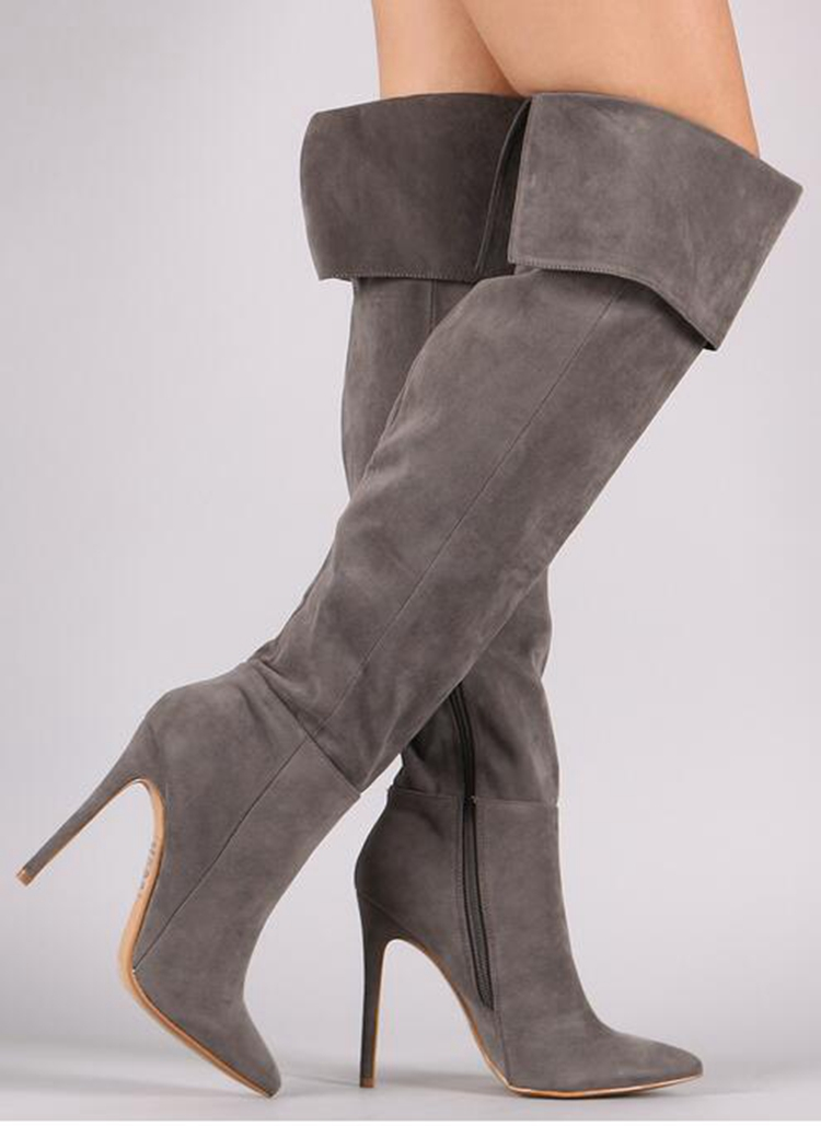 grey suede pointed toe over the knee boots woman fashion thigh high boots sexy thin heels boots night club wear long boots newest design pointed toe long boots thin high heels thigh high boots army green suede lace up skinny dress boots nightclub shoe