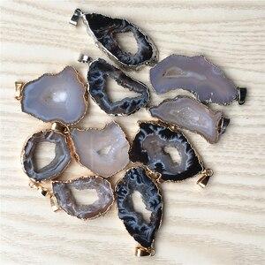 Image 5 - Nieuwe Natuursteen Braziliaanse Gegalvaniseerde Randen Slice Open Agaat Geode Drusy Druzys Hangers Voor Vrouwen Ketting sieraden Maken