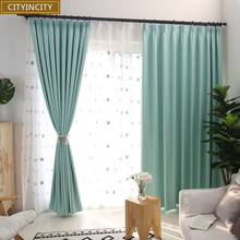 CITYINCITY Solid Blackout Curtains For Bedroom Faux linen Darpes Modern thick Curtain for Livingroom Window ready made curtain