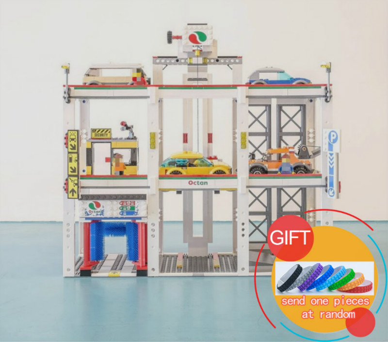 02073 1045Pcs City Series The City Garage Set Compatible with 4207 Building Blocks Bricks Toys As Boy`s Birthday Gift lepin lepin 02012 city deepwater exploration vessel 60095 building blocks policeman toys children compatible with lego gift kid sets