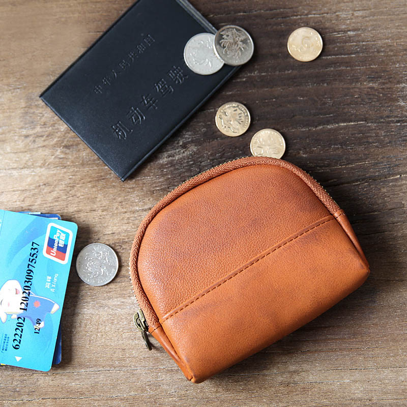 Genuine Leather women wallets Unisex Vintage small wallet Zipper Card Holder purses mini change purse capacity coin money bag(China)