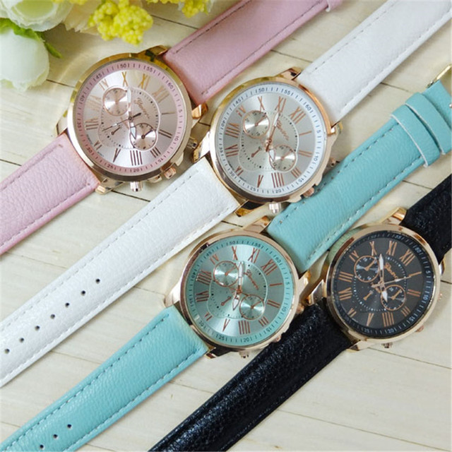 Dropship Hot Cheap Watch Women Geneva Brand Fashion Dress Ladies Watches Leather Women Analog Quartz Wrist Watch Relojes Mujer 5