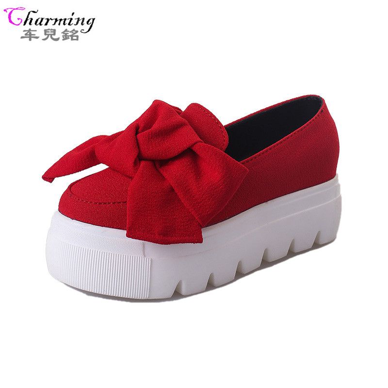 2016 autumn NEW women shoes bowtie muffin heavy-bottomed Platformquality Women Flats fashion loafers women casual ShoesALF221 fashion casual low top shoes heavy bottomed muffin shoes celebrity same paragraph with gold silver trainer shoes free shipping