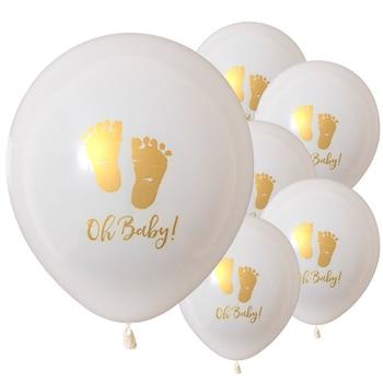 Kuchang 1 set Oh Baby globos de látex estampados dorados pies de bebé para decoración de fiesta de cumpleaños chico Babyshower niño artículos para niñas