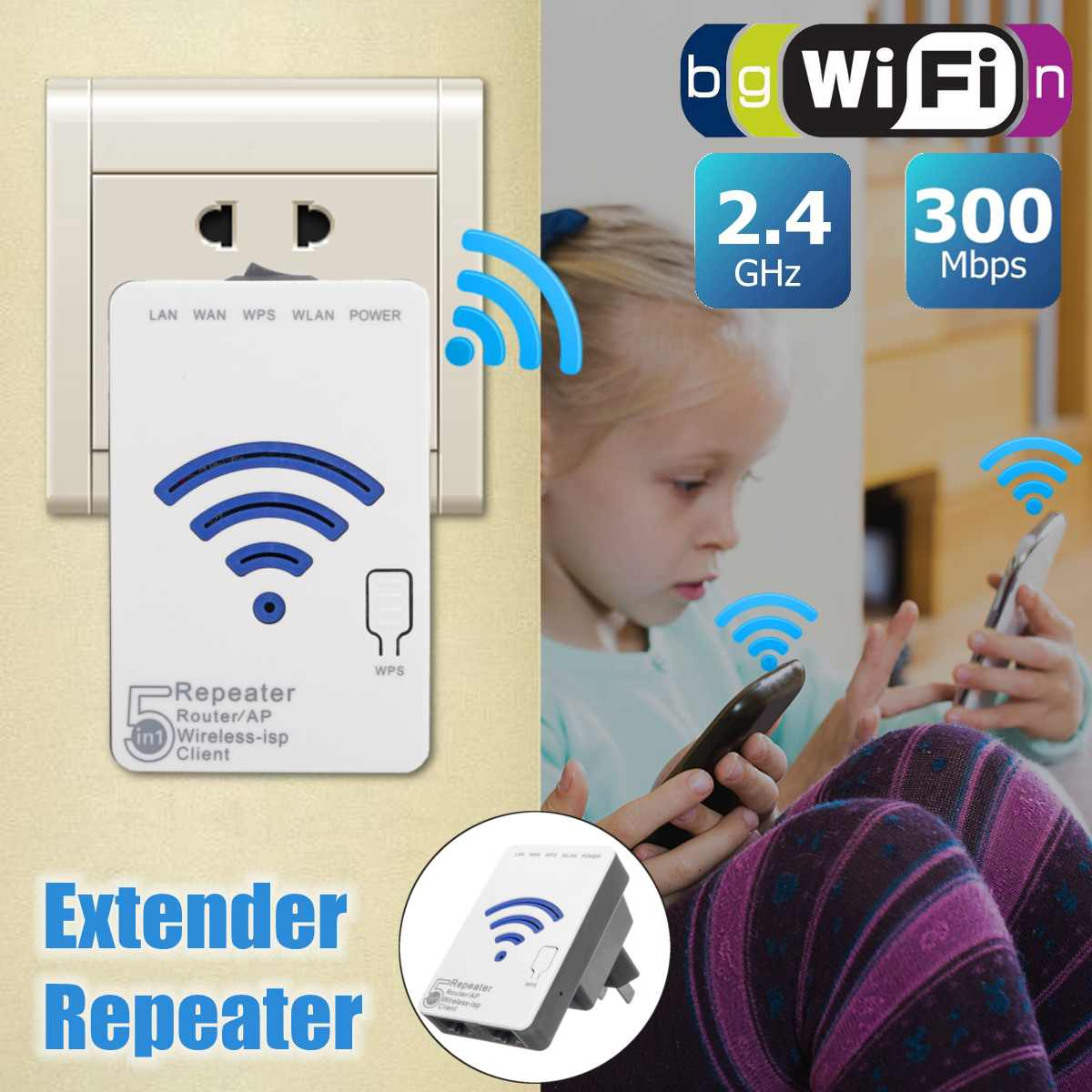 LEORY WLAN 300Mbps Extender Repeater Mini Router  WiFi Signal Booster Extender Amplifier for Travel Office Home