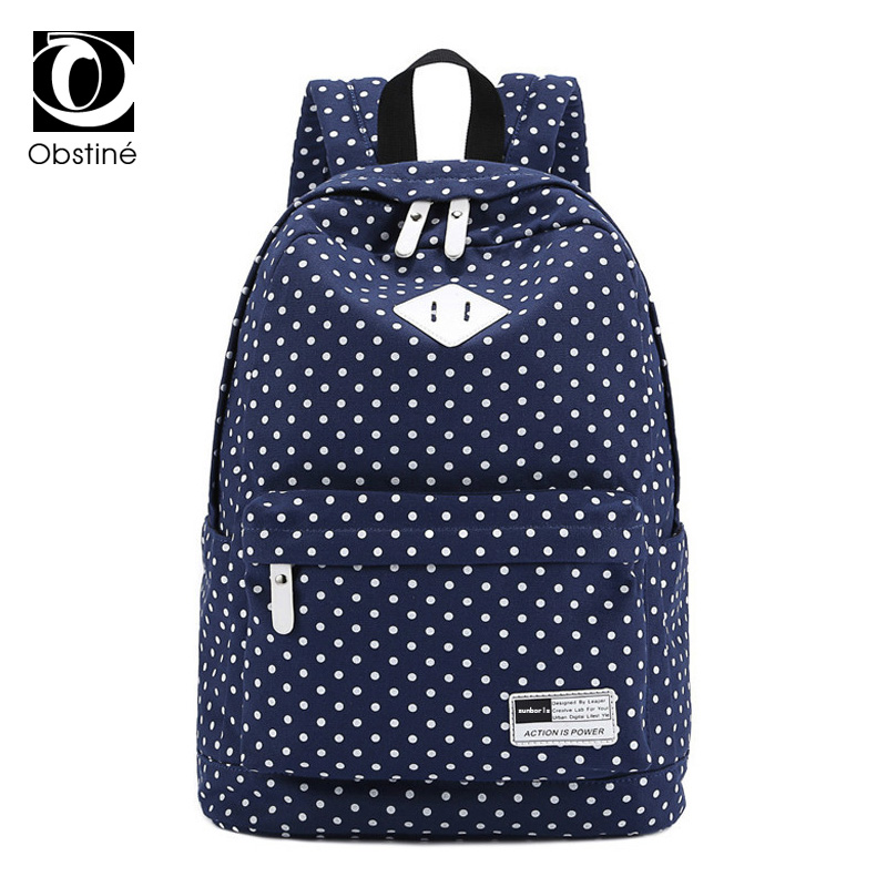 Fashion Dot Printing Backpack for School Teenage Girls 15.6 Inch Laptop Schoolbag Canvas Backpacks for Women Large Capacity Bags new 4pcs set dot canvas backpacks for teenage girls school bags 2018 women cute bear printing backpack shoulder bags for kids
