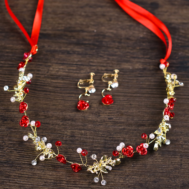 Vintage 3Pcs Red Flower Gold Hair Jewelry Pearl Headbands Rhinestone Hairband Earrings Set Bridal Women Wedding Hair Accessories ...