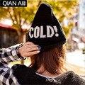 O novo inverno 2015 chapéu gorro moda chapéu armado letras quente borda gorro