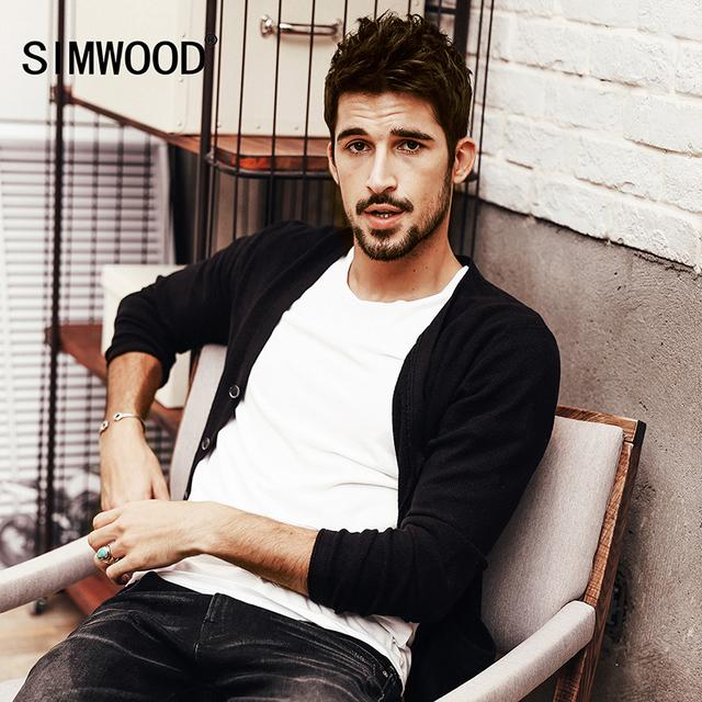 SIMWOOD marca 2016 nova outono inverno camisola homens cardigan moda vestuário manga comprida malhas slim fit MY2022