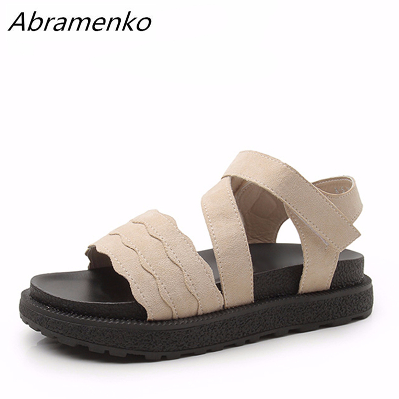 49d7c2a5a Abramenko Women Shoes Sandals Women Flower Ruffle Platform Sandals Ladies  Khaki Shoes Flip Flops For Summer Style Plus Size 43