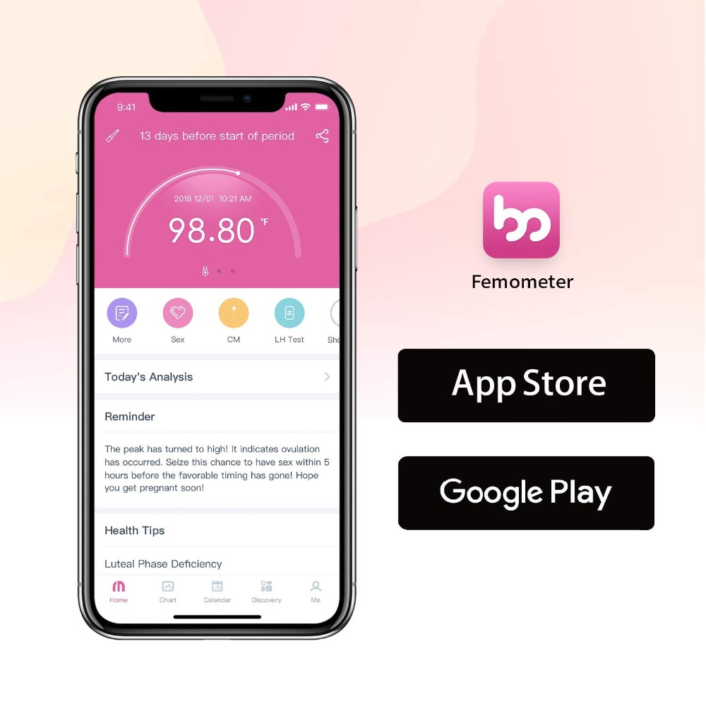 Pelvifine Smart Basal Thermometer Ovulation Period Tracker with APP Auto BBT Sync Charting Coverline Ovulation Prediction in Thermometers from Beauty Health