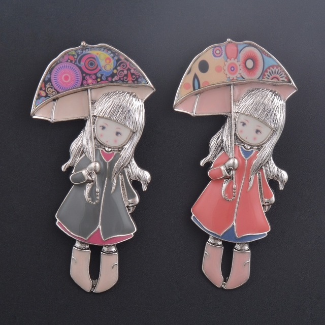 Wholesale Dress Clothes  Accessory Bag Decoration Elegant Statement Enamel Doll Lady Brooch Pins Jewelry