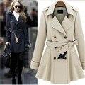 2016 мода дизайнерский бренд классический европейский плащ размер S-XXL синий / абрикос двубортный женщины пальто