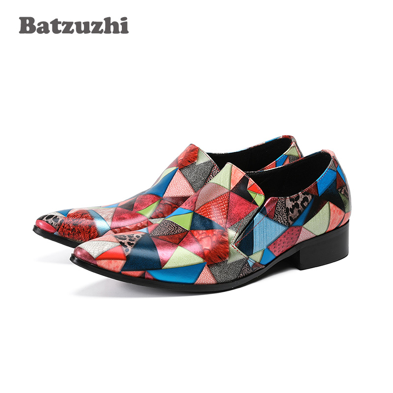 Здесь можно купить  Batzuzhi Top Fashion Genuine Leather Mens Dress Shoes Mixed Colors Business Male Shoes Men Oxfords Flats for Mens Wedding Party  Обувь