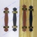 Расстояние Между отверстиями 96 мм/128 мм коричневый/черная кожаная мебель ручка/современный стиль кожаная ручка/двери тянуть/ручка