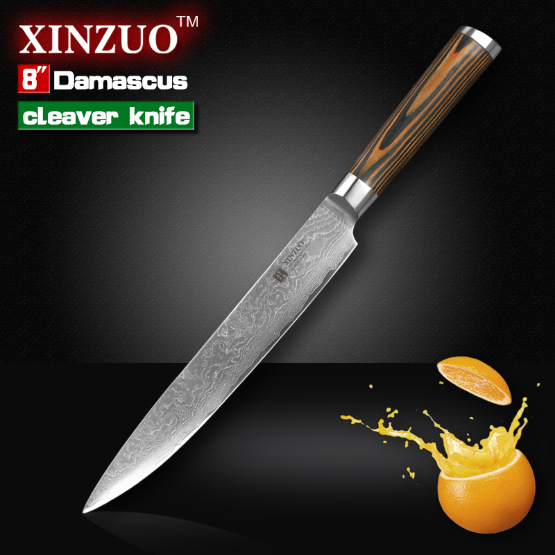xinzuo 8 inch cleaver font b knife b font layers Japanese Damascus kitchen font b knife