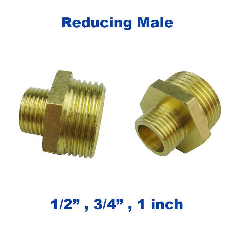5 pcs un sacco In Ottone tubo flessibile idraulico lato riducendo adattatore maschio 1/2 3/4-1 pollici union connettore in metallo impermeabile giunto per tubo