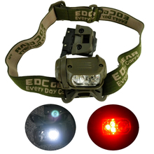 Military Headlight Red LED Headlamp Tactical Head Torch Lamp Light for Hunting Running Fishing Hiking