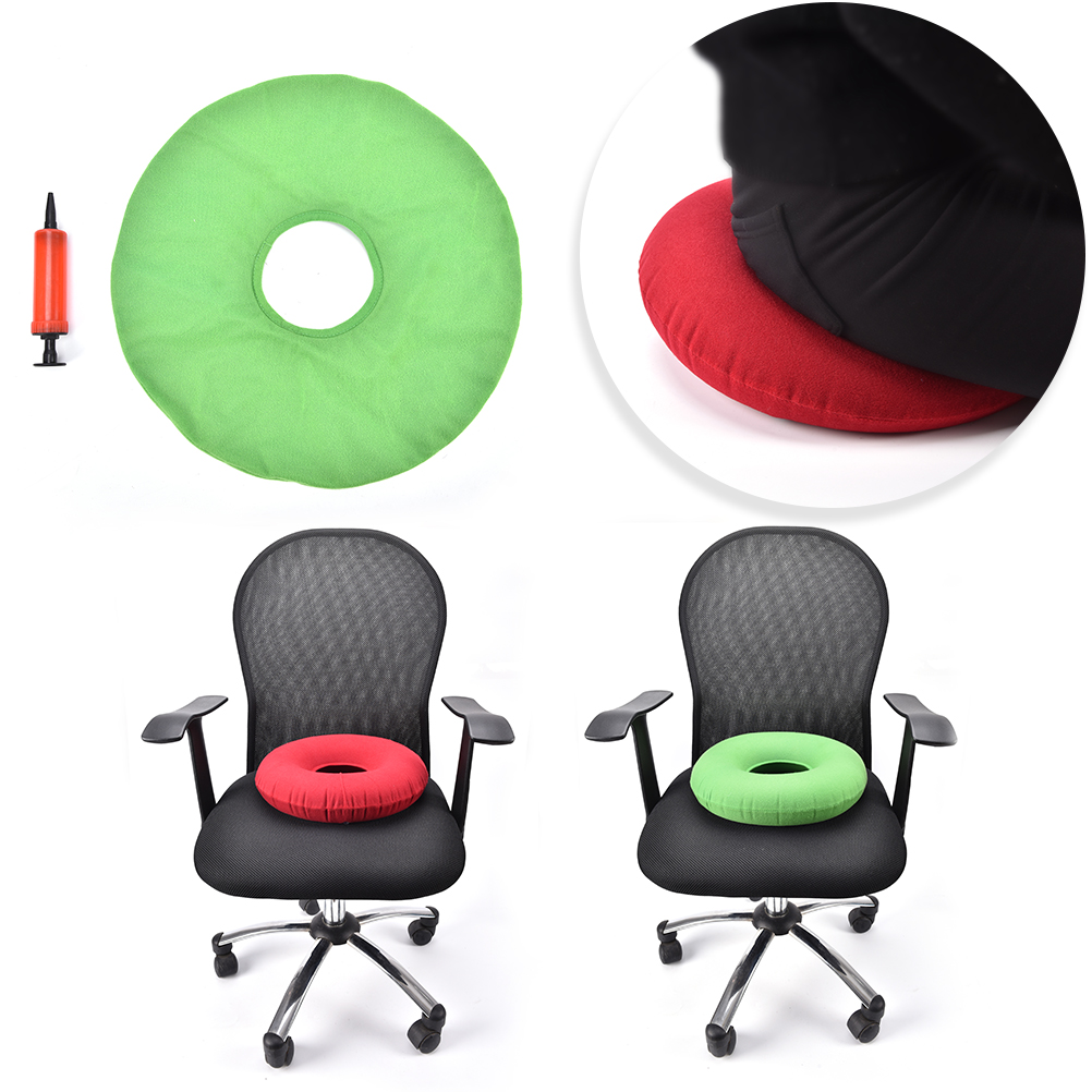 US $4 3 16% OFF Inflatable Plush Fabric + PVC Round Cushion Vinyl Seat  Cushion Medical Hemorrhoid Pillow Sitting Donut Massage Pillow 2 Color-in