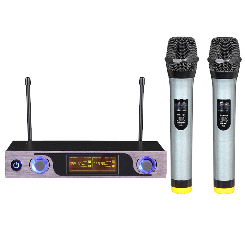 UHF Wireless Microphone with LED Display MU 589 for Speaker Studio Recording TV Box Audio Mixer DVD Player School Teaching-in Microphones from Consumer Electronics