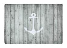 Floor Mat Vintage White Nautical Anchor on Gray Wood Print Non slip Rugs Carpets alfombra For
