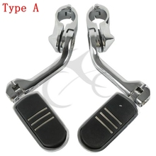 Motorcycle 1-1/4 32mm Chrome Long Angled Streamliner Highway Engine Guard Foot Pegs For Harley Touring Suzuki Yamaha Honda