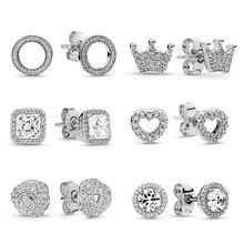 27 Styles Fashion CZ Zircon Fits Fine Stud Earrings For Ladies Women Crown Love Flower Earrings Jewelry Birthday Wedding Gift
