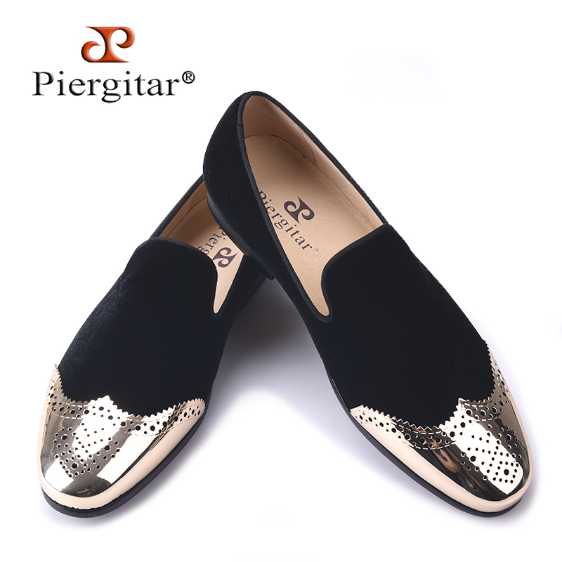 Piergitar 2017 new Black velvet shoes with gold Bullock buckle Fashion party and wedding men loafers Plus size men casual shoes