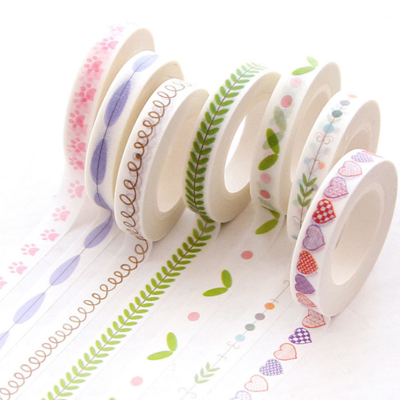 0.7cm*10m Narrow Leaves Thin Border Washi Tape DIY Decoration Scrapbooking Planner Masking Tape Adhesive Tape Label Sticker