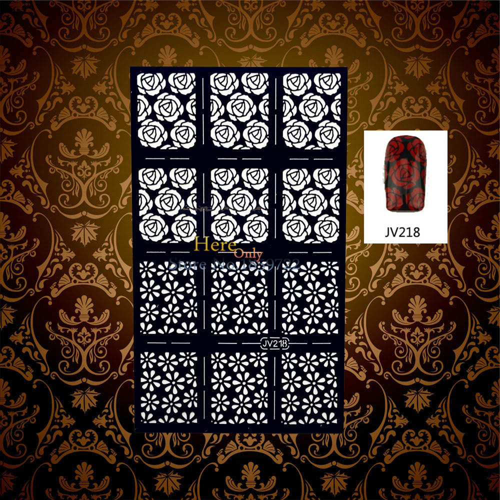 1PC Hot Sale Rose Flower Hollow Pattern Nail Foils Manicures Art Stamping Tool HBJV218 Nail Art