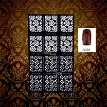 1PC Hot Sale Rose Flower Hollow Pattern Nail Foils Manicures Art Stamping Tool HBJV218 Nail Art Stencil Stickers Vinyls Polish