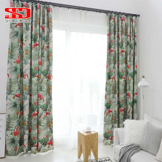 Tropical Leaves Flamingos Blackout Curtains For Living Room Pastoral  Printed Drapes Pineapple Fabrics Window Blinds Green Kids