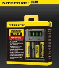 Nitecore New i4 Original Intelligent Battery Charger 4 Solt with LCD Display for 14500 16340 (RCR123) 18650 22650 26650 AA AAA