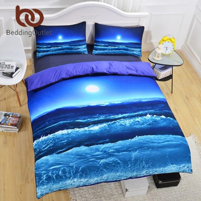 Ordinaire BeddingOutlet Moon And Ocean Bedding Set Cool 3D Printed Duvet Cover Set  Soft Home Textiles Soft
