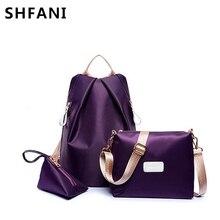 Shangfanni Новинка 2017 года узор нейлоновая сумка комплект из 3 предметов Наборы для ухода за кожей искусственная кожа Для женщин рюкзак Летняя мода combinaion сумка