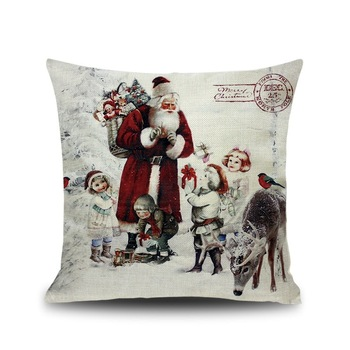 1pcs 2020 Pillow Case Santa Claus Print Old Man Sofa Bed Home Decor Pillowcase Bedroom Cushion Cover Merry Christmas 44x44 Cm 1