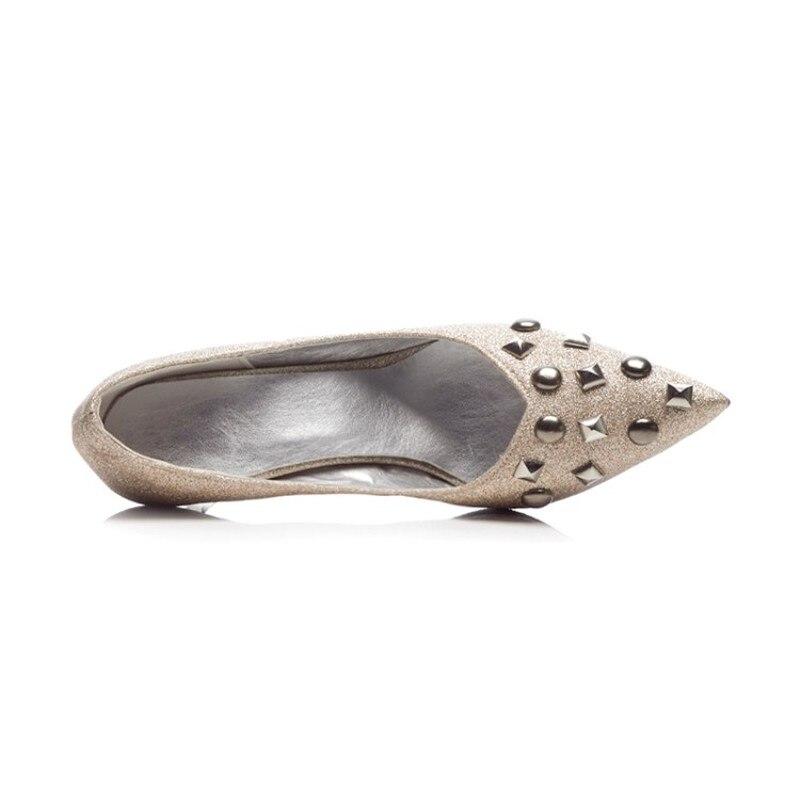 1 Casual Pompes Mariage Femmes Printemps Talons Hauts Rivet À Noir Bureau Slip 2018 Partie Chaussures Or Nouvelle On Sexy Automne Pointu Bout Mode 2 De xdAwHAgaq