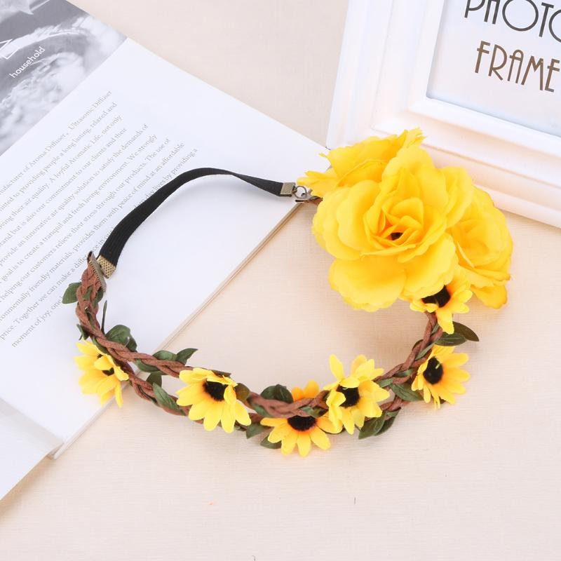 Village Women Floral Cloth Hairbands Natural Elastic Travel Wedding Holiday Party Decoration Headwear Hairdressing Accessories