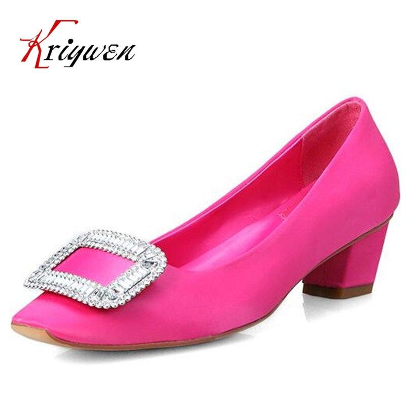 ФОТО New Spring Autumn women med/high heel shoes ladies fashion rhinestone pumps silk shallow sweet party pumps female wedding shoes