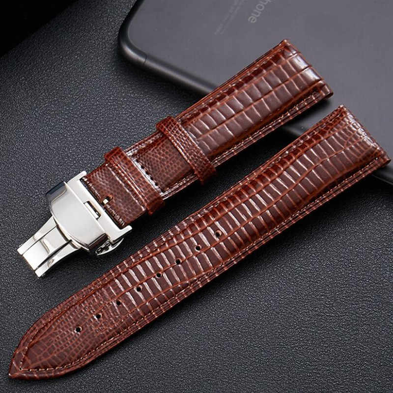 Black Brown Lizard Pattern Genuine Leather 12 14 16 18 20 22 24 MM Watche Band Strap Belt Watchband Folding Clasp Watchband