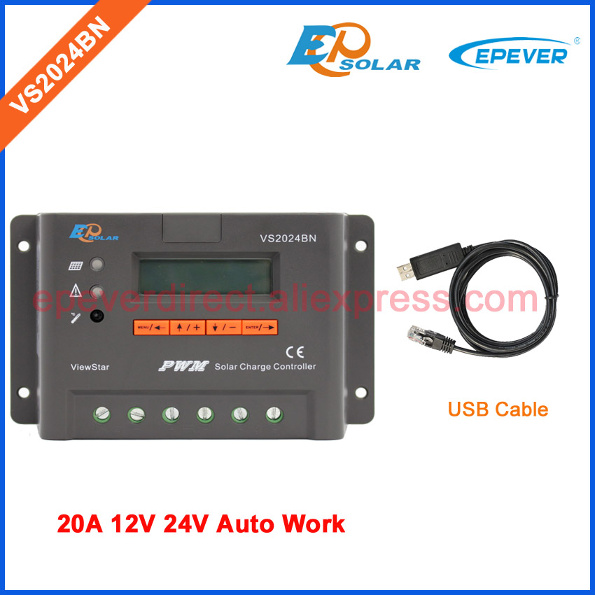 PWM ViewStar solar controller VS2024BN apply for off-grid tie solar system 20A with USB cable connect PC 12V 24V pwm new solar controller viewstar series vs2024bn with usb communication cable 20a 12v 24v wifi connect app box adapter