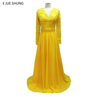 E JUE SHUNG Yellow Chiffon Pearls Long Prom Dresses 2018 Long Sleeves Sheer Back Evening Dresses